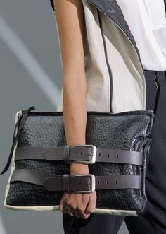 Love the contrast in the materials & belts #bags #accessories
