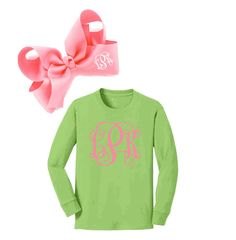 PERSONALIZED YOUTH LONG SLEEVE TEE & PERSONALIZED LIGHT PINK BOW SET