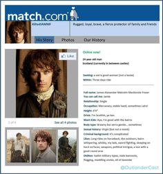 What if Outlander's Jamie Fraser Had an Online Dating Profile? - Outlander Cast Blog