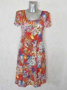 bf082d8572af  Robe femme  évasée fluide  motif feuille tropicale manches courtes taille  38 à 48