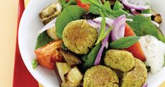 Make your own spiced falafel balls and serve with roasted eggplant for a fabulous vegetarian meal idea.