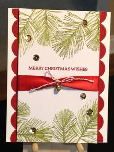 Christmas Card - Stamps:  Stampin' Up Santa's Sleigh, Pine by Whispers - Lawn Fawn Stitched Scalloped Borders Dies - Stampin' Up Inks:  Real Red, Old Olive - Stampin' Up Dazzling Diamonds Glitter - Stampin' Up Candy Cane Lane Bakers Twne - Cardstock:  Gina K. Red Velvet, Neenah Classic Crest Cover Solar White 110lb - Inspiration:  http://angelaspaperarts.blogspot.com.au/2014/10/ornamental-pine-cards.html