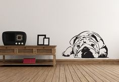 Cute Lazy Dog Lying On the floor Wall Sticker Quotes Vinyl Removable Home Decor For Living Room Bedroom Kids Room Decals Living Room Bedroom, Kids Bedroom, Living Room Decor, Wall Stickers Quotes, Wall Decals, Wall Mural, Murals, English Bulldog Art, Vinyl Projects