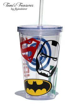 Custom Super Hero Double Wall 16 oz Tumbler, 20 oz Tumbler, Superman, Iron Man, Batman, Captain America, Ring Bearer Gift on Etsy, $13.00
