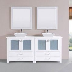 "Latitude Run Lyn Modern 71"" Double Bathroom Vanity Set with Mirror Base Finish: White"