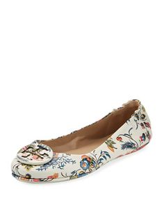 93edbb7f08e384 Minnie Floral Travel Logo Ballerina Flat by Tory Burch at Neiman Marcus.