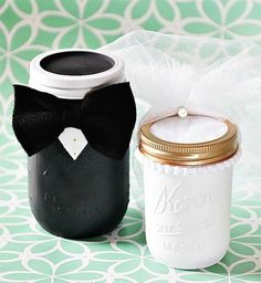 These bride and groom jars would look adorable at a bridal shower!