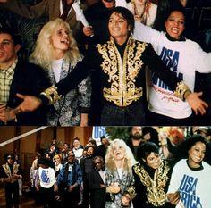 "Paul Simon, Kim Carnes, Michael Jackson & Diana Ross ""We Are The World"" recording Jan 1985 Jackie Jackson, Michael Jackson, Jackson 5, We Are The World, Change The World, Quincy Jones, Paul Simon, Lionel Richie, The Jacksons"