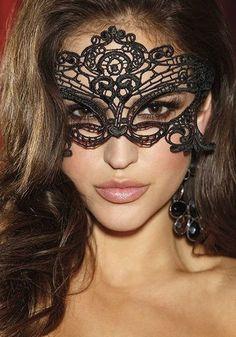 Venetian-Style Crochet Mask - Sexy Black Crochet Mask