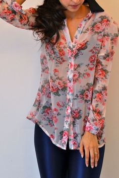 Vintage Inspired Floral Shirt. Re-Pin If you like this product :) Shop the sale on www.Rooja.com