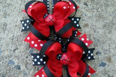 TWO Red and Black Lady Bug Hair Bows Hair Clip Set by innavert, $9.00
