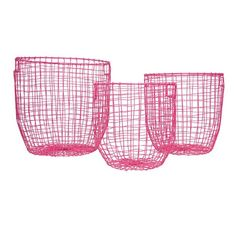 General Eclectic Round Baskets - Pink ~ Set of 3
