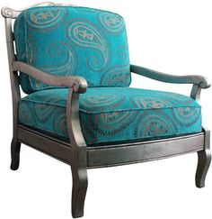 Large Moroccan Paisley Crushed Velvet Silver Leaf Club Chair