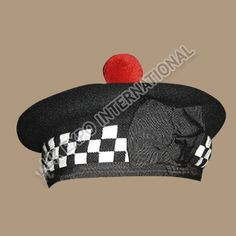 Black Balmoral Hat with white Black dicing and red pom http   www. c2458291f855