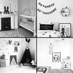 Monochrome Kids Room - black and white interior design ideas. Black and white prints in frames for boys and girls cool bedrooms White Bedroom Design, Bedroom Black, Boys Monochrome Bedroom, Trendy Bedroom, White Kids Room, Toddler Rooms, Kids Room Design, Awesome Bedrooms, My New Room
