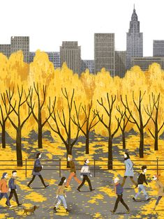 "Vu Tuan Anh Autumn in New York - cover illustration for ""Tra sua cho tam hon magazine. New York Illustration, Autumn Illustration, Tree Illustration, Watercolor Illustration, Nursery Artwork, Autumn In New York, Childrens Wall Art, Autumn Art, Illustrations And Posters"