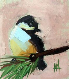 Chickadee 890 Original Bird Oil Painting by Angela Moulton 4 x 4.5 inch with 8 x 10 inch White Mat