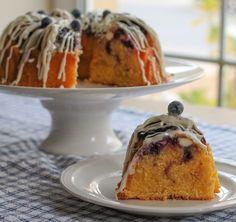 Lemon Blueberry Van Halen Bundt ~ lemon cake stuffed with blueberries, cream cheese, and blueberry jam