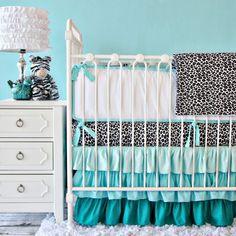 aqua leopard crib bedding | Modern Nursery Bedding : Nursery Bedding Sets : Baby Girl Baby Boy ...