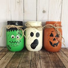 Items similar to Halloween Mason Jars halloween centerpiece Frankenstein ghost jack olatern hand painted Set of 3 Mason jars Rustic Home decor on Etsy Pot Mason, Fall Mason Jars, Mason Jar Flowers, Mason Jar Crafts, Mason Jar Diy, Bottle Crafts, Diy Deco Halloween, Mode Halloween, Halloween Crafts For Kids