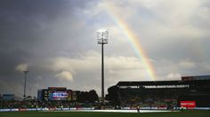 A rainbow brings in some hope of play at the Bellerive Oval, Australia v Scotland, World Cup 2015, Group A, Hobart, March 14, 2015