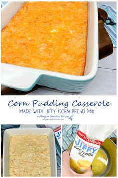 Cheesy Corn Pudding Casserole Recipe - made with a box of Jiffy Corn Bread is a great side dish for any meal but it's especially great for Thanksgiving from Walking on Sunshine Recipes. Corn Pudding Casserole, Corn Pudding Recipes, Casserole Recipes, Side Dish Recipes, Top Recipes, Fall Recipes, Drink Recipes, Thanksgiving Side Dishes, Thanksgiving Recipes