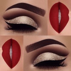 Excellent Red matte lips and gold glitter eye makeup 2018 – LadyStyle The post Red matte lips and gold glitter eye makeup 2018 – LadyStyle… appeared first on Fashion . Cute Makeup, Gorgeous Makeup, Pretty Makeup, Red Makeup Looks, Amazing Makeup, Red And Black Eye Makeup, Sweet 16 Makeup, Holiday Makeup Looks, Easy Makeup