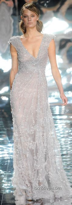 Elie Saab Spring Summer 2010 Haute Couture | | Silver wedding | #EndoraJewellery - Custom Swarovski crystal and pearl wedding jewelry---- This is a GORGEOUS gown that I wish I cud wear to any event :')-cassie