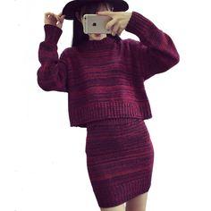 Suéter de Las Mujeres de moda Falda Conjunto Primavera Otoño Tops + Faldas Cortas 2016 Europa Delgada de Manga Larga Traje de Punto Twinset de Las Mujeres ropa
