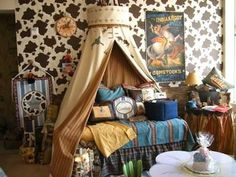 Teepee canopy for a cowboy themed room! Love!