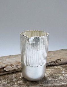 """'Forest series"" beaker by Emma McCallum. Britannia silver spun form, hand chased."