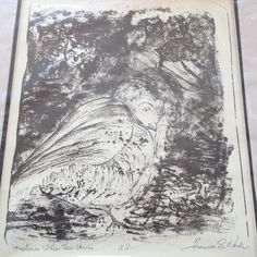 ORIGINAL LITHOGRAPH SIGNED BIRDS PIGEON CAT OWL FISH SMALL ANIMALS ART B&W BLOCK #Abstract