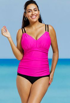 Delta Burke Pink Plus Size Shirred Swimsuit Im wonderng how this deals with h-cup breats