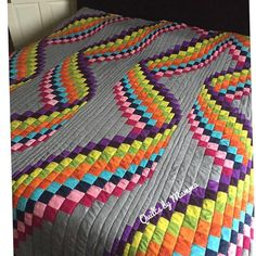 Best 12 Just dropping in with a splash of colour! Sharing this again because it really is one of my absolute favourite all time makes … I'm so… Bargello Quilt Patterns, Bargello Quilts, Jellyroll Quilts, Patchwork Patterns, Scrappy Quilts, Quilt Block Patterns, Easy Quilts, Sewing Patterns, Tumbling Blocks Quilt