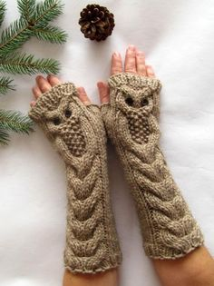 Owl Alpaca Light Brown Beige Long Hand Knit Cable Pattern Fingerless Gloves, available at SheepyFibresEtc on Etsy (no pattern) Fingerless Gloves Knitted, Crochet Gloves, Knit Mittens, Knit Or Crochet, Knitted Hats, Knitted Owl, Crochet Pattern, Cable Knitting Patterns, Free Knitting