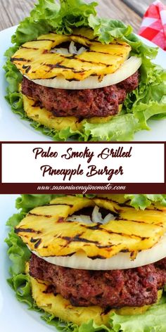 This Smoky Grilled Pineapple Burger is always a crowd-pleaser at my house. It's not only Paleo, but glutenfree, lower carb, and clean-eating friendly. I promise you won't miss the bun! Entree Recipes, Burger Recipes, Paleo Recipes, Low Carb Recipes, Cooking Recipes, Paleo Food, Clean Eating, Healthy Eating, Paleo Whole 30