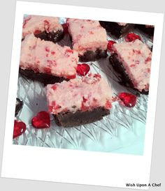 Wish Upon A Chef: Dark chocolate brownies with cherry buttercream icing.  Perfect for a Valentine's Day treat!