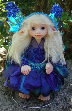 "OOAK Fantasy Fairy Polymer Clay Art Doll Sculpture ""Celia"" Fairies by J. Pollard Creations. $50.00, via Etsy."