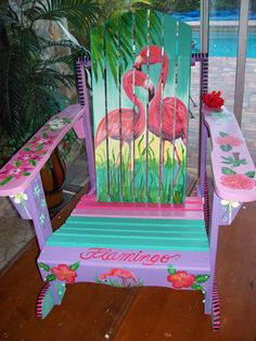 My flamingo chair hand painted Adirondack Flamingo Craft, Flamingo Decor, Flamingo Bird, Flamingo Party, Pink Bird, Pink Flamingos, Flamingo Outfit, Flamingo Painting, Painted Chairs