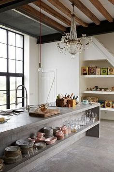 Consider Installing Kitchen Islands To Go With Your Unique Kitchen Design – Home Decor World Home Decor Kitchen, Rustic Kitchen, Interior Design Kitchen, Home Kitchens, Kitchen Ideas, Small Kitchens, Sweet Home, Concrete Kitchen, Cheap Home Decor