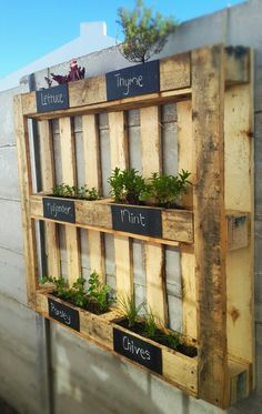 Herb box! Make your ugly prefab wall look better and functional! Aromatiques verticales sur palette de chantier