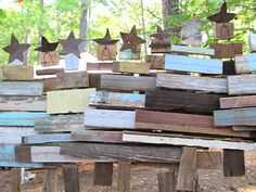 Scrap wood Christmas trees at the Country living fair