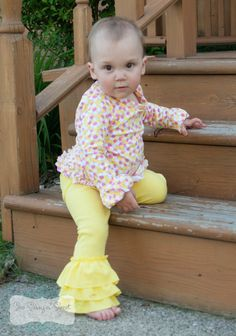 Create Kids Couture - Baby Kelsey's Ruffled Leggings PDF sewing pattern. These are GREAT to go under dresses and shirts- you will use these over and over again for fall and winter! Even spring, actually!