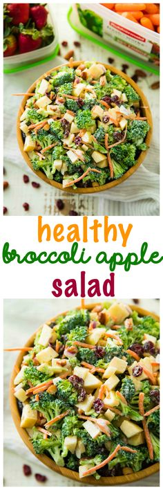 This Healthy Broccoli Apple Salad isthe perfect easy side dish for spring and summer barbecues potlucks and picnics. Best of all it's so easy to make with broccoli apples almonds dried cranberries and a homemade tasty dressing. Healthy Salad Recipes, Healthy Snacks, Vegetarian Recipes, Healthy Eating, Cooking Recipes, Grill Recipes, Barbecue Recipes, Cake Recipes, Healthy Side Dishes