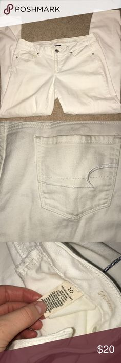 American Eagle jeans WORN ONCE White American Eagle jeans.  WORN ONCE!  PERFECT condition Size 10 American Eagle Outfitters Jeans