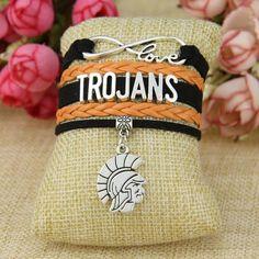 Trojans Love Bracelet with pendant Bracelet for Trojans fans. Love Bracelets, Throw Pillows, Sport, Pendant, Trending Outfits, Unique Jewelry, Handmade Gifts, Etsy, Vintage