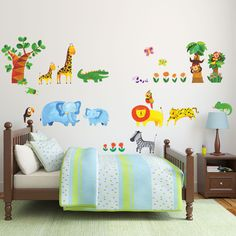 Decowall Tropical Jungle Wall Stickers Nursery Kids Decals 1409 Removable Vinyl  #DecowallDM1409 #FairyTaleEducationalFunny