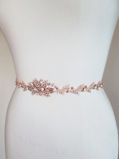 Rose gold bridal crystal belt Crystal belt sash by SabinaKWdesign