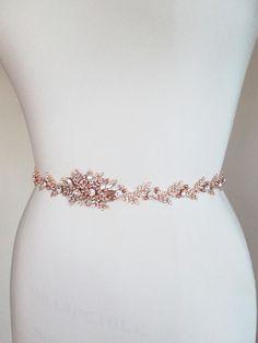 Rose gold bridal crystal belt Crystal belt sash by SabinaKWdesign