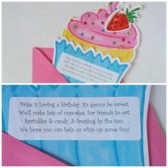 cupcake birthday party invite closeup